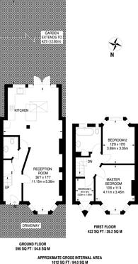 Large floorplan for Cambridge Road, Mitcham, CR4