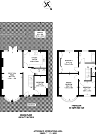 Large floorplan for Hook Rise North, Surbiton, KT6