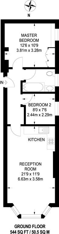 Large floorplan for Greencroft Gardens, South Hampstead, NW6