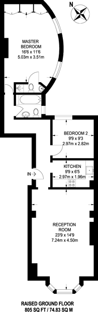 Large floorplan for Gloucester Terrace, Bayswater, W2