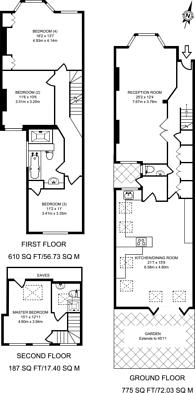 Large floorplan for Lysia Street, Bishop's Park, SW6