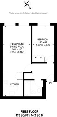 Large floorplan for Regents Bridge Garden, Vauxhall, SW8