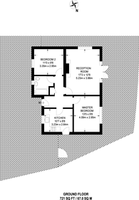 Large floorplan for Wood Vale, East Dulwich, SE23