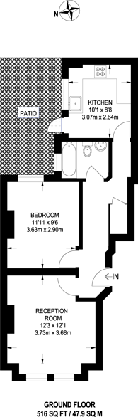 Large floorplan for Tunis Road, Shepherd's Bush, W12