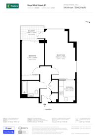 Large floorplan for Royal Mint Gardens, Wapping, E1