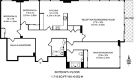 Large floorplan for Landmark, Canary Wharf, E14
