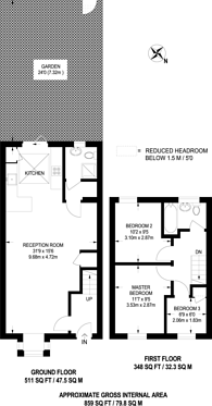Large floorplan for Chivalry Road, Between the Commons, SW11