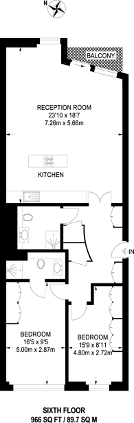 Large floorplan for Winchester Road, Swiss Cottage, NW3