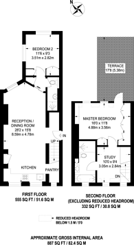 Large floorplan for Upcerne Road, Chelsea, SW10