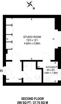 Large floorplan for Thames Eyot, Cross Deep, Twickenham, TW1