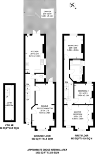 Large floorplan for Honeybrook Road, Clapham South, SW12