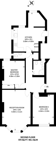 Large floorplan for Lyncroft Gardens, West Hampstead, NW6