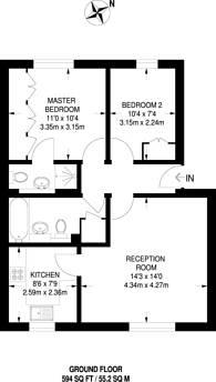 Large floorplan for Massingberd Way, Tooting, SW17