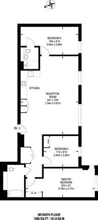 Large floorplan for Three Colts Lane, Bethnal Green, E2