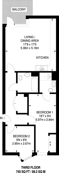 Large floorplan for Elmington Green, Camberwell, SE5