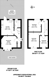 Large floorplan for Southcroft Road, Tooting, SW16