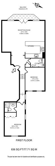 Large floorplan for Airlie Gardens, Kensington, W8