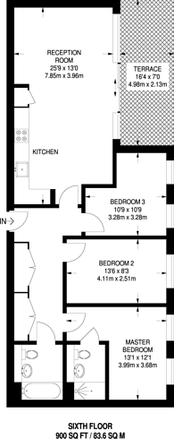 Large floorplan for Oxley Square, Tower Hamlets, E3