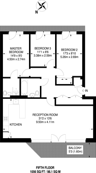Large floorplan for Park View Mansions, Stratford, E20