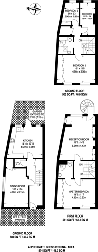 Large floorplan for Kelso Place, High Street Kensington, W8