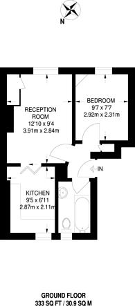 Large floorplan for Brine House, Bow, E3