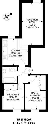 Large floorplan for Old Brompton Road, South Kensington, SW5