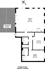 Large floorplan for Quadrant Walk, Canary Wharf, E14