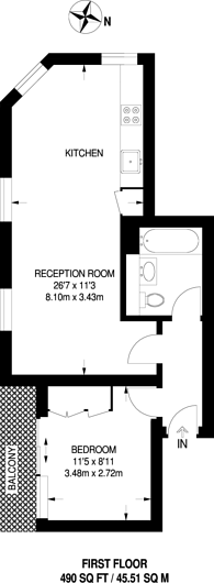 Large floorplan for Grove Vale, East Dulwich, SE22