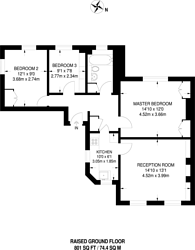 Large floorplan for Sutherland Square, Kennington, SE17
