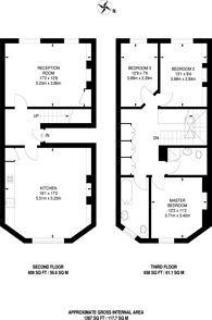 Large floorplan for Mecklenburgh Square, Bloomsbury, WC1N
