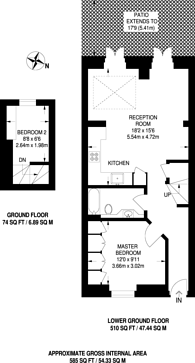 Large floorplan for Southcombe Street, Brook Green, W14