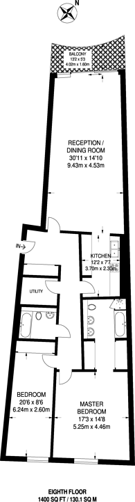 Large floorplan for Albion Riverside, Battersea, SW11