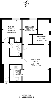 Large floorplan for Myatts Field, Camberwell, SE5