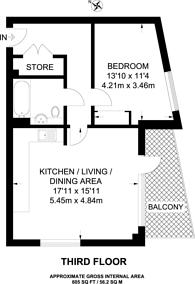 Large floorplan for Lansbury Square, Poplar, E14