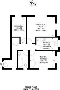 Large floorplan for Windlesham Grove, Southfields, SW19