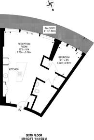 Large floorplan for Arena Tower, Canary Wharf, E14
