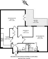 Large floorplan for London Square, Bounds Green, N11