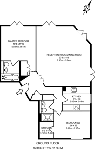 Large floorplan for Pierpoint Building, Canary Wharf, E14