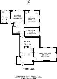 Large floorplan for Warwick Gardens, High Street Kensington, W14