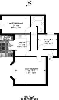 Large floorplan for Green Lanes, Manor House, N4