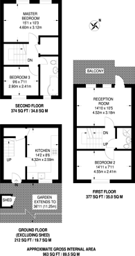 Large floorplan for Approach Close, Stoke Newington, N16