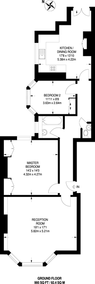 Large floorplan for Antrim Road, Belsize Park, NW3