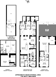 Large floorplan for Princes Gate, South Kensington, SW7