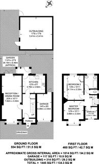 Large floorplan for Cranborne Avenue, Surbiton, KT6