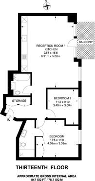 Large floorplan for Grantham House, Docklands, E14