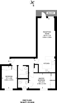 Large floorplan for Cubitt Street, Bloomsbury, WC1X