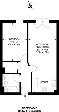 Large floorplan for Salamanca Place, Kennington, SE1