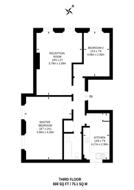 Large floorplan for Cranley Gardens, South Kensington, SW7