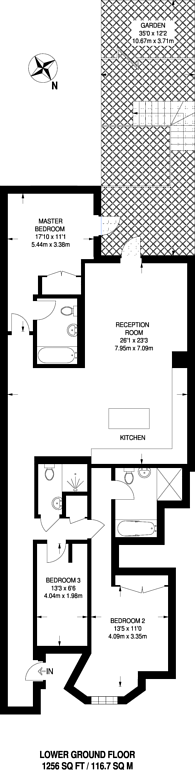 Large floorplan for Upper Richmond Road, West Putney, SW15