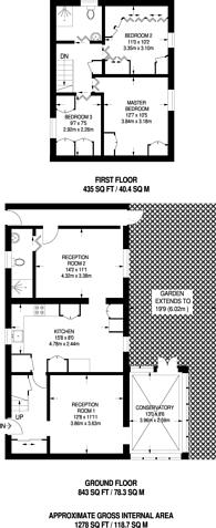 Large floorplan for Stroud Crescent, Putney, SW15